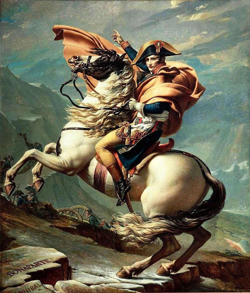 Napoleon_ダヴィッド『ベルナール峠からアルプスを越えるボナパルト』