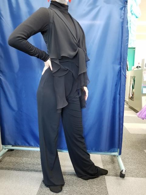 襟付ベスト 軽量パンツ クレープ素材 ダンス用レディースパンツ