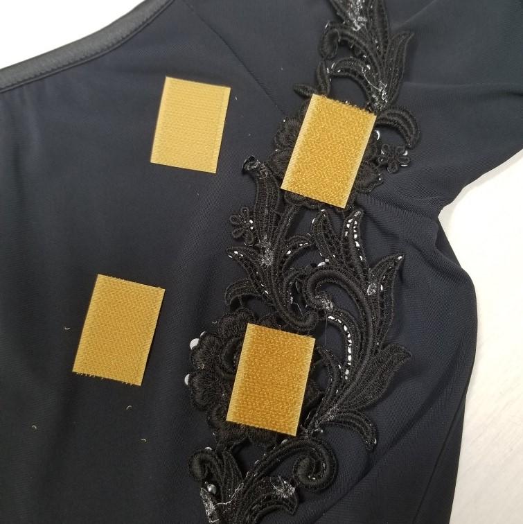 アップリケ 黒レース 黒飾り 黒ラインストーン ブラック 飾り付レースモチーフ 黒モチーフ デコる