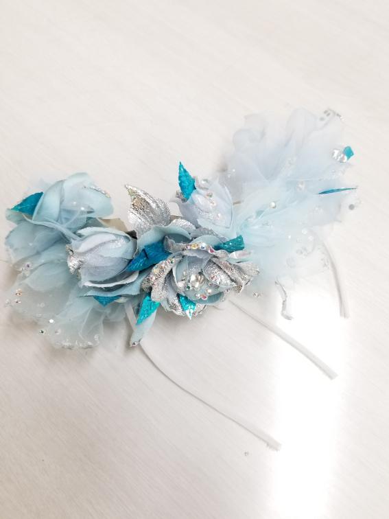 ウェディング イブニング 社交ダンスヘアアクセ ブルーのヘアアクセサリー ブルーのへヘッドドレス インターネット購入