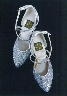 ダンスシューズ シルバーラメ画像 白樺ドレス