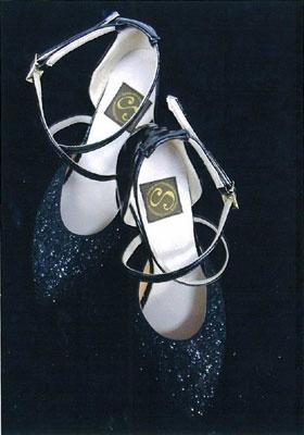 ダンスシューズ 黒ラメ画像 白樺ドレス