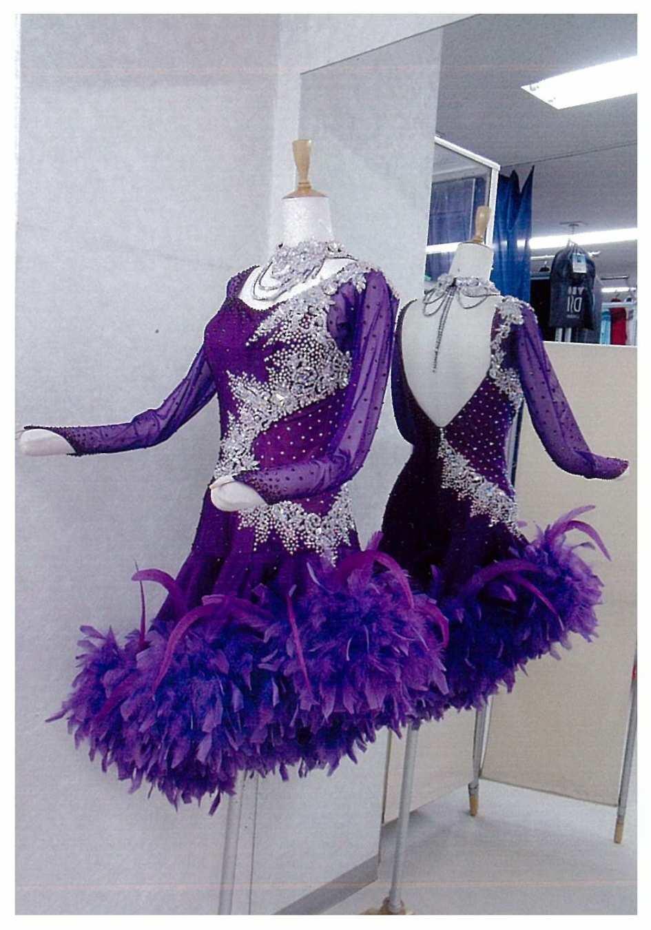ラテン 羽付き ファンタジックライン クリスマスドレス
