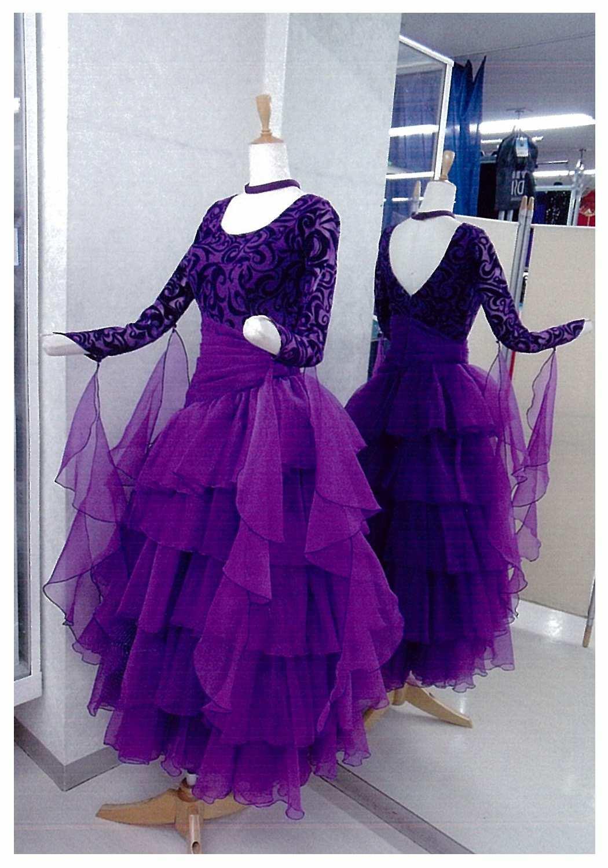 石の付いていない準正装用社交ダンスドレス