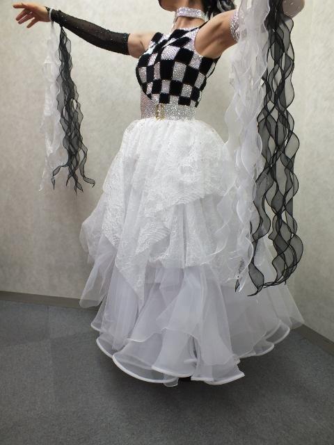 エレガント チェッカー柄 ドレス