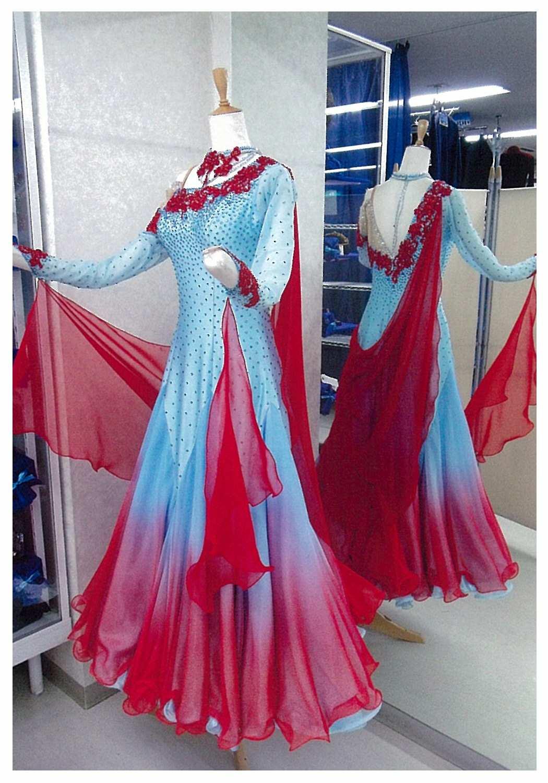 ファンタジックライン うすブルーとレッドのグラデーション ドレス