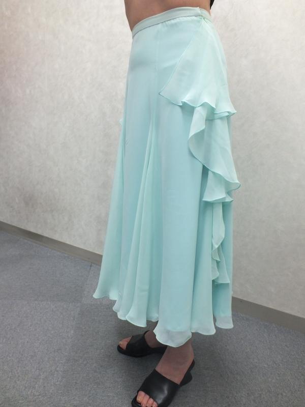 社交ダンスレッスン用 シフォンスカート うすブルー