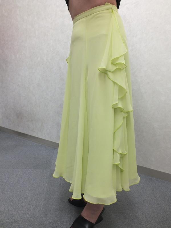 社交ダンスレッスン用 シフォンスカート うすグリーン
