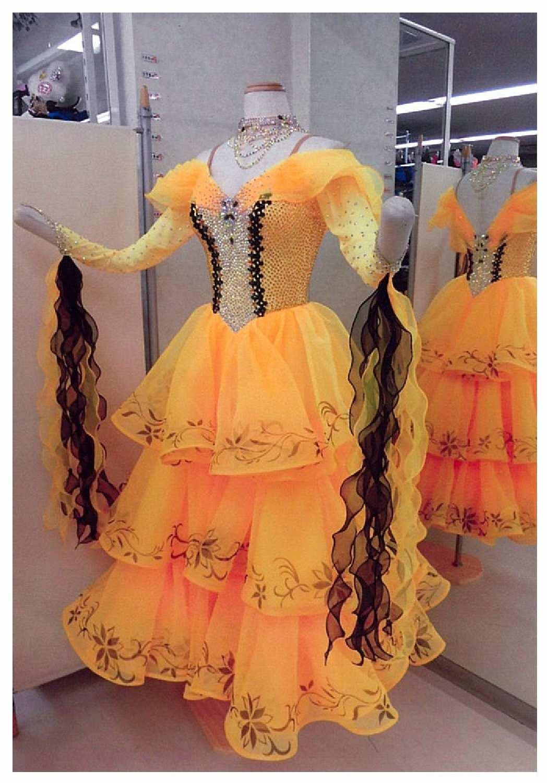 タンゴ用黄色のドレス 美女と野獣のベル風ドレス