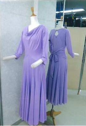 ワンピース バックスタイル リボン パープル 白樺ドレス