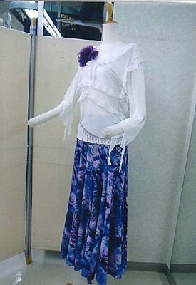プリントスカートパープルブルー画像2 白樺ドレス