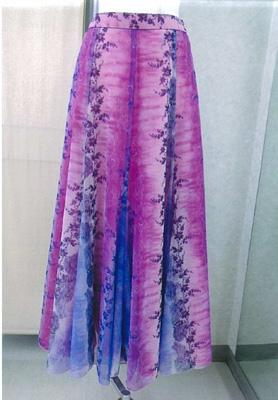 プリントスカートピンクパープル画像 白樺ドレス